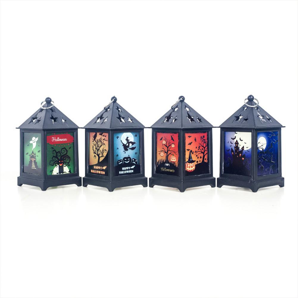 HobbyLane Vintage LED Halloween Decoration Light Hollow Out Flame Lamp Night Light Hanging Lantern For Holiday Decoration Lights