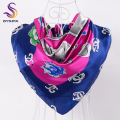 [BYSIFA] Letters Square Scarves France Brand Design Winter Women Silk Scarf Shawl Spring Autumn Turkey Headscarves 90*90cm