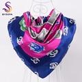 [BYSIFA] Letters Square Scarves France Brand Design Winter Women Silk Scarf Shawl Spring Autumn Turkey Headscarves 90*90cm