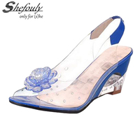 Shefouly Retro Transparent Crystal Wedges Plastic Sandals Shoes 7cm Increased Girls Summer Rain Non Slip Jelly