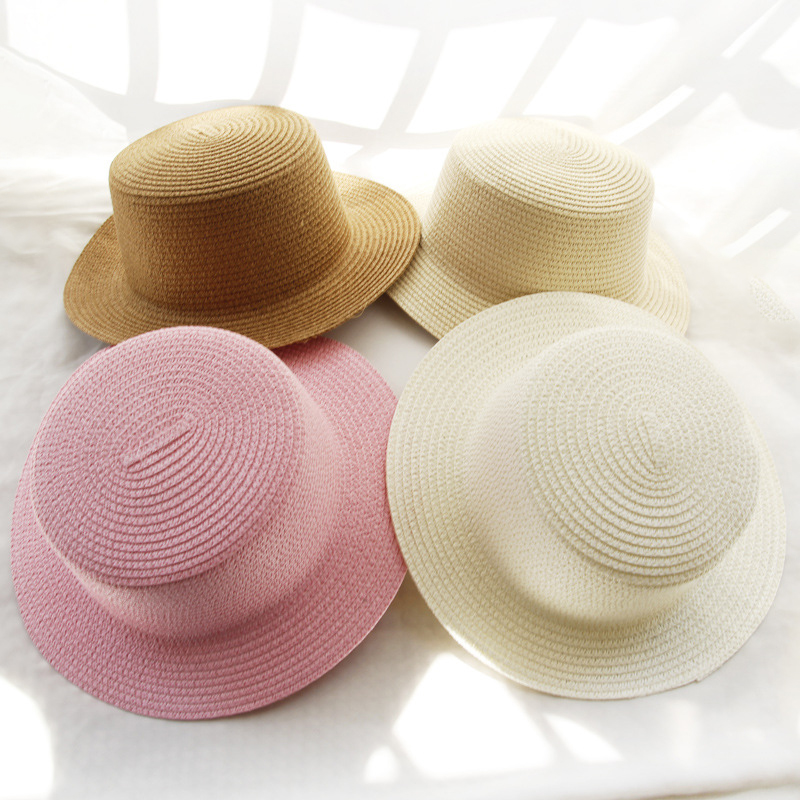 Summer Parent-child Simplicity Solid Color Sun Hat Visor For Women Caps Fashionable Straw Hat  Sea Beach Trip Caps Girl Hat