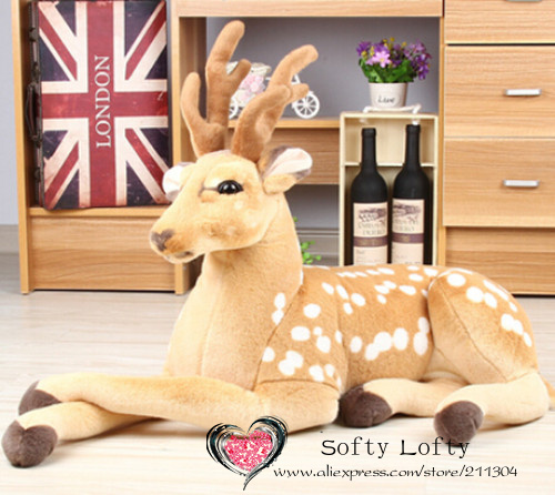 Free shipping emulate sika deer plush animal stuffed toy gift for friend kids children kids boys birthday party gifts zoo king стоимость