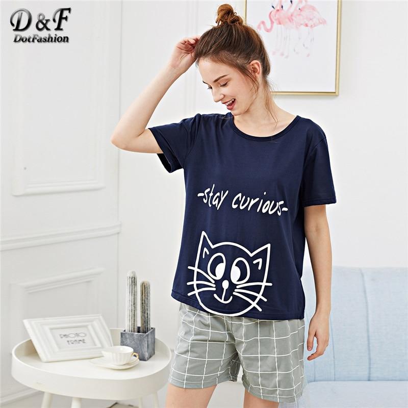 95c2ece1b94 Dotfashion Plaid Cartoon Cat Letter Print Pajama Set Womens Clothes 2019  Casual Loungewear Summer Short Sleeve