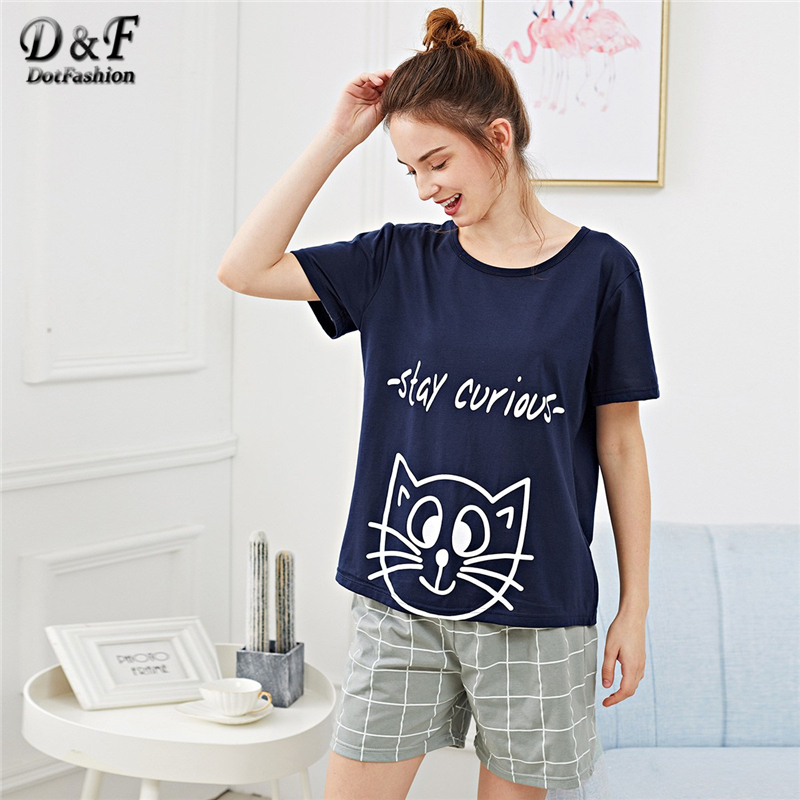 Dotfashion Plaid Cartoon Cat Letter Print   Pajama     Set   Womens Clothes 2019 Casual Loungewear Summer Short Sleeve Preppy Nightwear