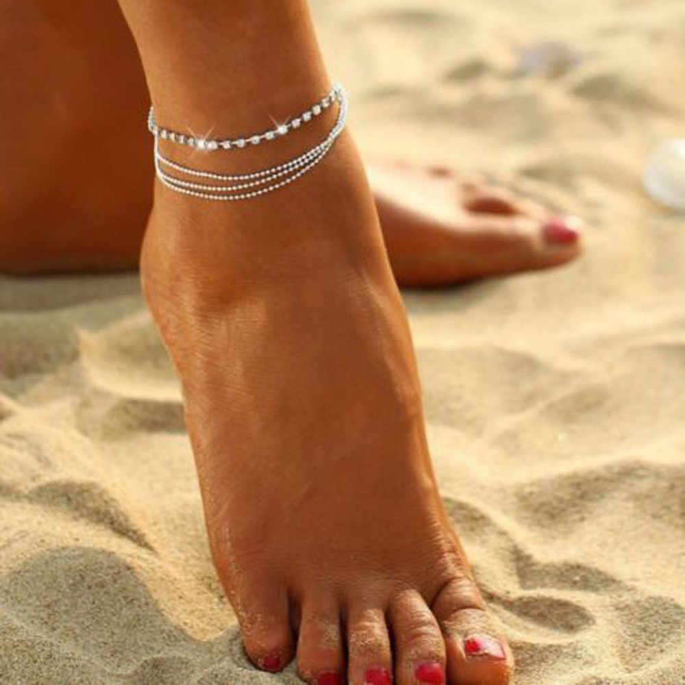 Chandler de cadena tobillera en el pie de la pierna de las mujeres de la pulsera Simple Slim de alambre ajustable tobillo verano joyería de playa