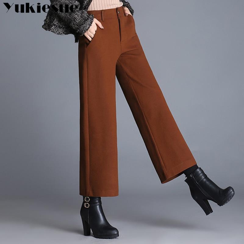 High waist   wide     leg     pants   woman 2018 spring formal ol office work wollen women   pants   capris female trousers pantalon femme
