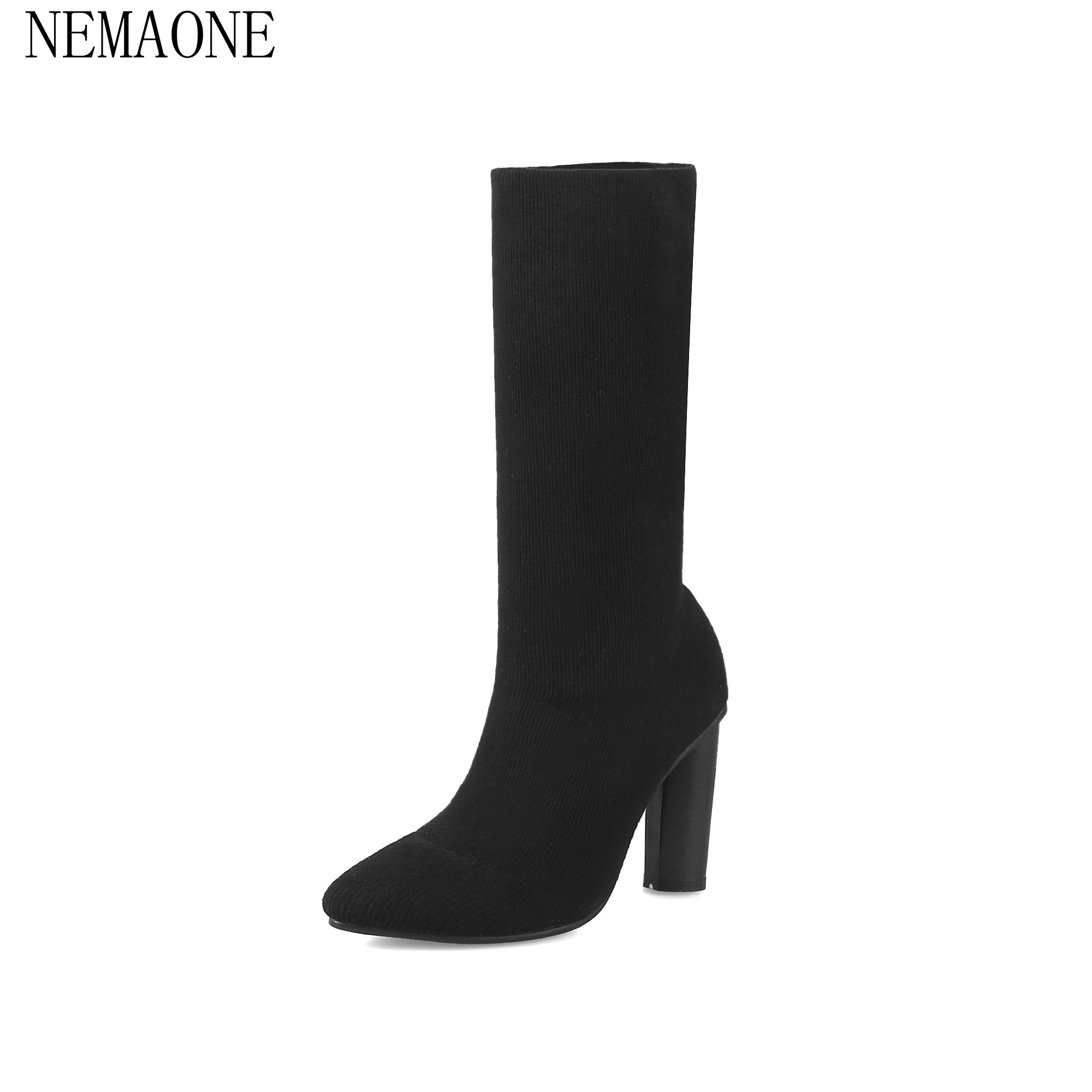 NEMAONE 2018 Women Autumn Mid calf Boots Stretch Elegant Woman Sexy round  toe Mid calf Boots Sexy Ladies High Heel 9cm double buckle cross straps mid calf boots