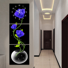 5D Blue Rose Diamond Painting Wall Clock DIY Floral Pattern Full Drill Round Mosaic Embroidery Watch Cross Stitch Decor