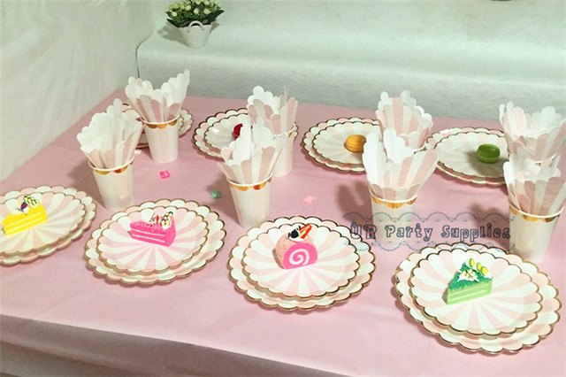 120sets Pink\u0026Gold Party Paper Tableware Plates Cups Napkins Table Cloth Baby Shower Wedding Matchmaking Party Table & 120sets Pink\u0026Gold Party Paper Tableware Plates Cups Napkins Table ...