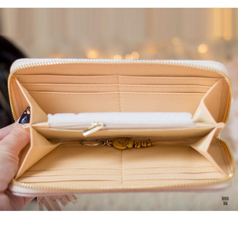 joypessie última tendência borla para Women Clutch Wallet Long : Leather Vintage Women Wallet Clutch Zipper