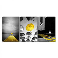 5D Diy diamond painting 3Pcs Black and White Yellow Umbrella Cityscape Man Walking on Yellow Zebra diamond embroidery ZP 1423