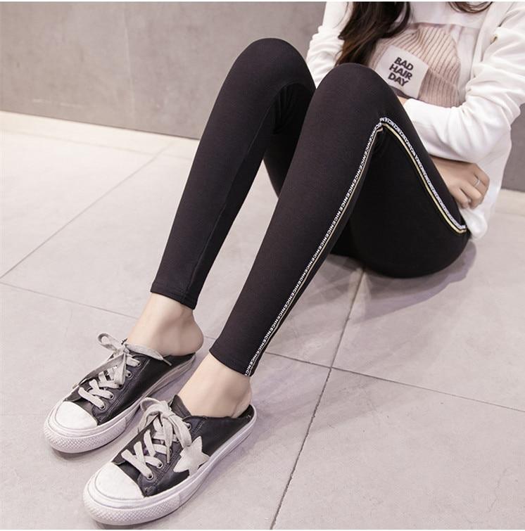 High Quality Cotton Leggings Side stripes Women Casual Legging Pant Plus Size 5XL High Waist Fitness Leggings Plump Female 35