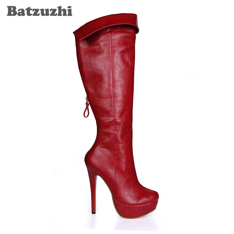 Femmes Nuit Batzuzhi Plate En Haute Club Hauteur Talons Longue Botas Bottes À Hiver Antumn Parti Du Sexy Cuir Genou Rouge forme wxx4EU