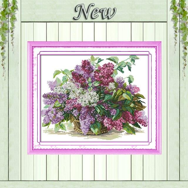 Красивый цветок сирени, 11CT узор на холсте DMC 14CT Вышивка крестом наборы, рукоделие вышивка для набора, DIY ремесла Дизайн и декор