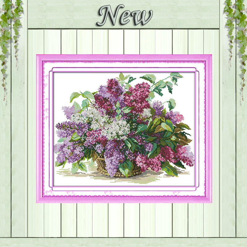 Schöne Blume Flieder, 11CT Muster auf der Leinwand DMC 14CT Cross Stitch Kits, Stickerei Stickerei für Set, DIY Crafts Home Decor