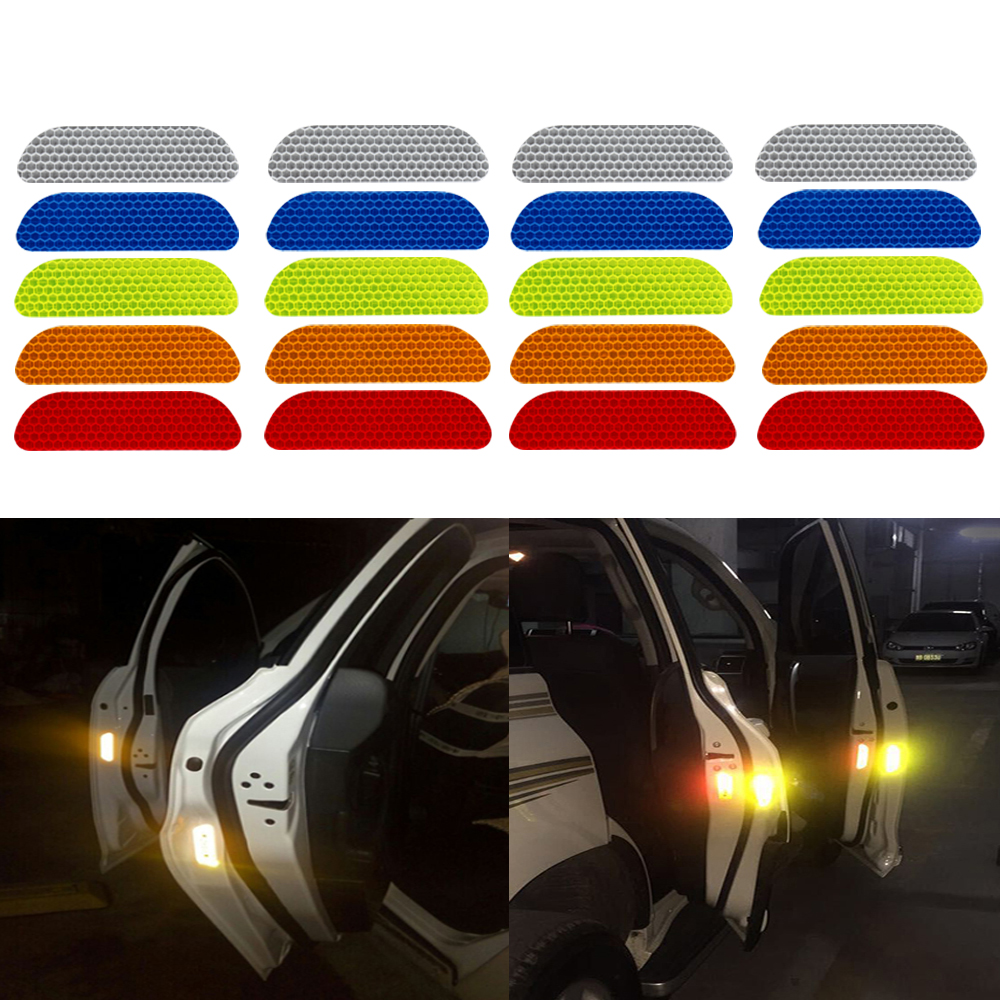 Reflective Strips Warning Tape Car Reflective Stickers 5 Colors Car Door Wheel Eyebrow Sticker Decal Safety Mark 4 Pieces/set