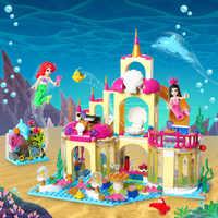 402PCS Girl Friends Princess Mermaid Ariel Undersea Palace Building Bricks Blocks Sets Toy castle