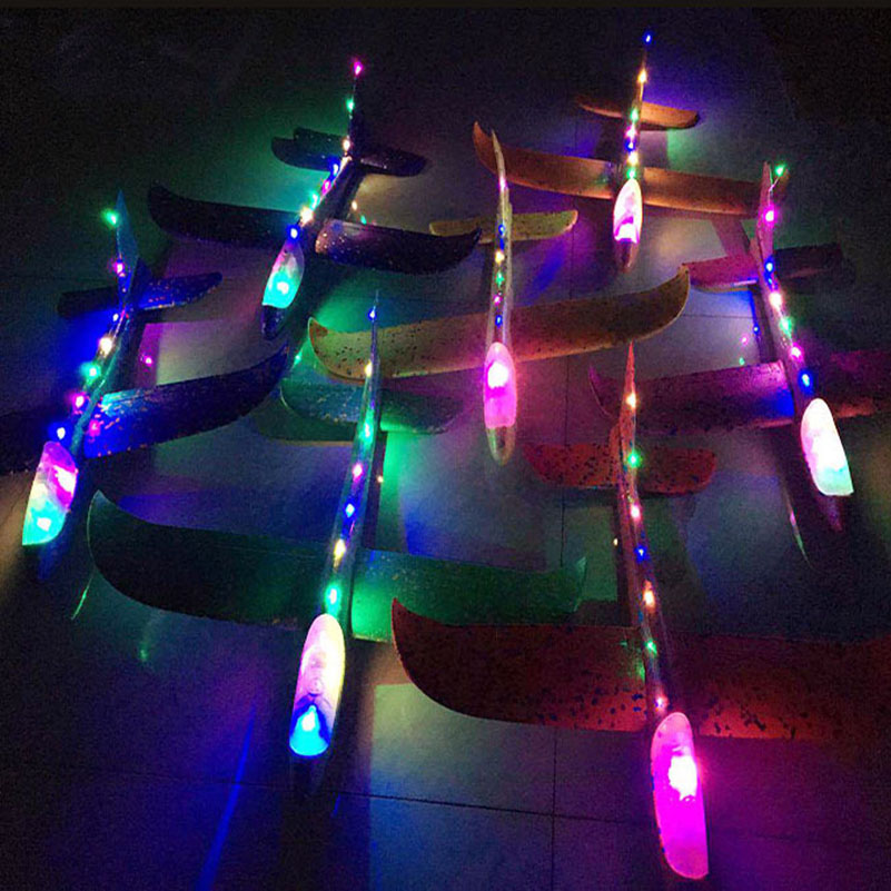 48cm EPP Foam Airplane Hand Launch Throwing Glider LED Light Aircraft Plane Model Outdoor Education Toys