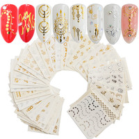 Nails Decoration 30pcsset Gold Silver Nail Water Sticker Feather Flower Spider Design Decal For DIY Nail Art Design Manicure