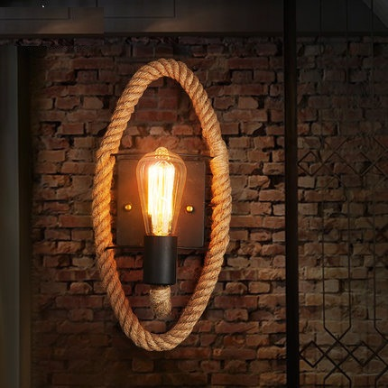 Loft Style Decorative Edison Wall Sconce Hemp Rope Wall Light Fixtures Vintage Industrial Lighting Wall Lamp For Home Lampara loft style iron edison wall sconce industrial lamp wheels vintage wall light fixtures antique indoor lighting lampara pared