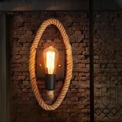 Loft w stylu dekoracyjne Edison kinkiet ścienny konopnej liny ścienne oprawy oświetleniowe zabytkowe oświetlenie przemysłowe kinkiet dla domu lampora