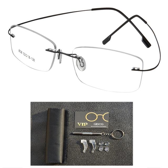 549e4fa505f3b Óculos De Titânio puro Óculos Sem Armação De óculos Espetáculo Prescrição  Frame Ótico Sem Aro flexível