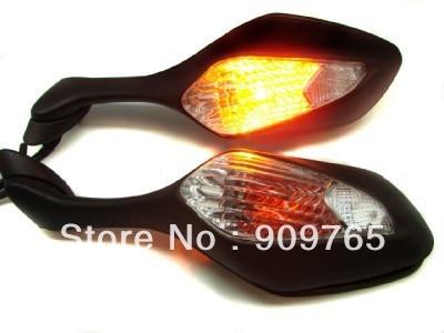 Pair Black Integrated Turn Signal Motorcycle Mirrors For Honda CBR1000RR CBR 1000 RR 08-11 2008 2009 2010 2011