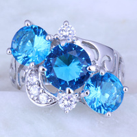 Luxury Blue Sky Topaz White Cubic Zirconia 18K White Gold Plated Rings For Women Party Jewelry