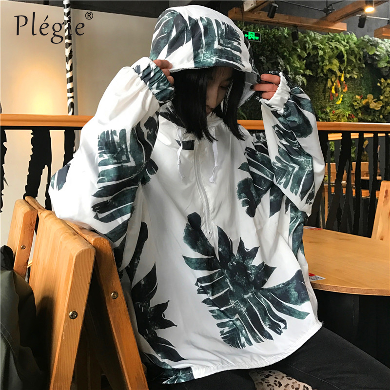 Plegie Sunscreen Hoodie Jacket Summer Women Printed Hoodie Bomber Jacket Boyfriend Harajuku Coat Outwear Loose Hoodies