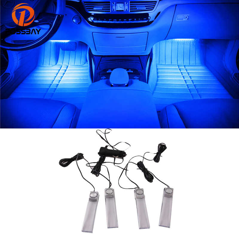POSSBAY Universal 4 Pcs Car Interior Decoration Atmosphere Lights Colorful Lamp Foot Lamps 12V LED Light Glow Lamp