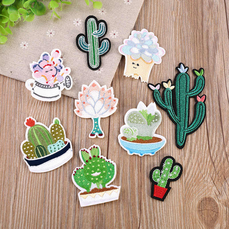 Flower Cactus Embroidery Patch Heat Transfers Iron On Sew On Patches for DIY T-shirt Clothes Stickers Decorative Applique 47203