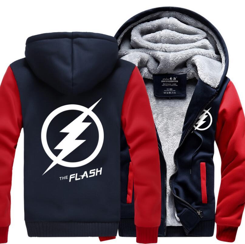 Super Hero The Flash men sweatshirts 2019 hot winter thicken hooded warm fleece brand clothing men hipster jacket Plus Size coat in Hoodies amp Sweatshirts from Men 39 s Clothing