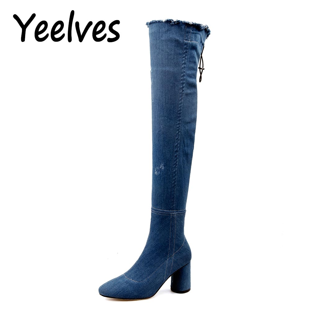 Yeelves Women Slim Over-The-Knee Winter Warm Thigh High Boots Ripped jeans Denim Mid High Heels Botas Mujer Shoes Big size 34-43
