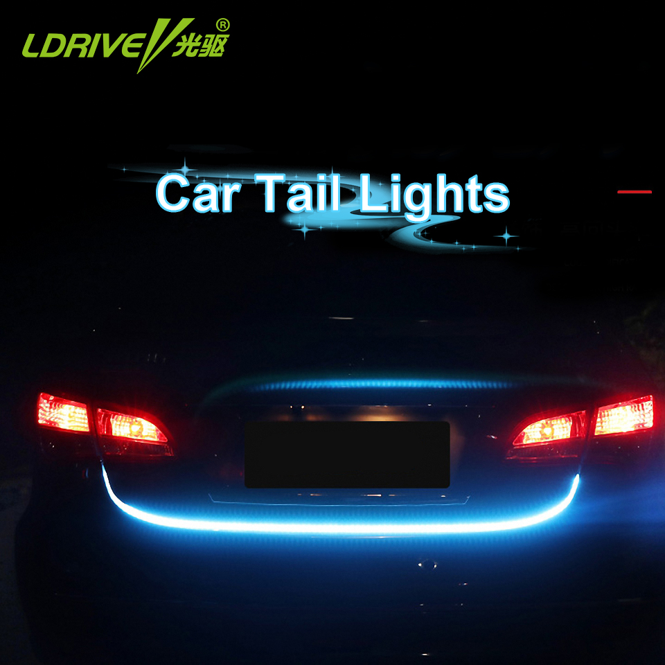 LDRIVE Car Tail Light RGB LED Strip Lighting Rear Trunk Dynamic Streamer Brake Turn Signal Led Warning Flowing Lights Strips it baggage чехол для samsung galaxy tab a 7 0 sm t285 sm t280 red