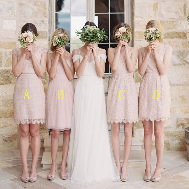 Fashion Short Light Pink Bridesmaid Dress Strapless Lace Dresses 2016 Cute Blush Wedding Party