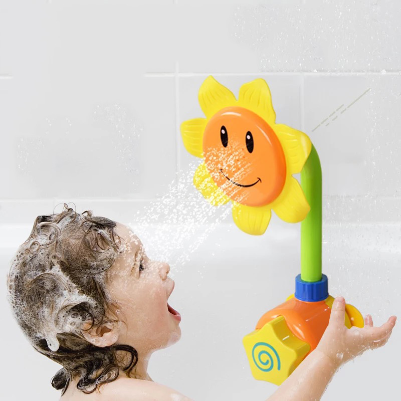 Baby Funny Water Game Bath Toys Sunflower Shower Faucet Baby Bath Spout Play Swimming Bathroom Toy Summer Bathing Random Color