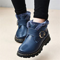 New 2016 PU Genuine Leather Shoes For Winter Warm Martin Boots Snow Boots Children's Boys Girls Warm Plush Shoes Kids 26-37