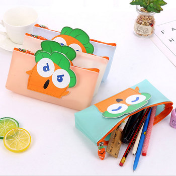Cartoon radish Pencil Case Quality PU School Supplies Bts Stationery Gift Pencilcase School Cute Pencil Box  School Stationery new gold pencil case reversible sequin school supplies bts stationery gift cute pencil box pencilcase school tools pencil cases