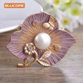 Blucome Elegant Flower Brooch Rose Gold Plated Rhinestone Masculino Broach Sweater Pendant Imitation Pearl Butterfly Pin Brooch