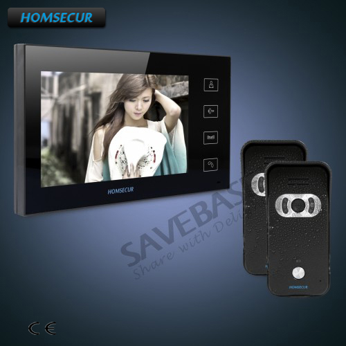 HOMSECUR 7 Hand-fee Video Door Entry Security Intercom+Black Camera 2C1M for Apartment+Delivery From Russia homsecur 9 video door entry security intercom ultra large screen monitor 2c1m