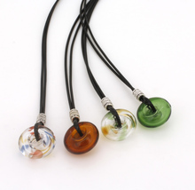 Circle Glass Crystal Pendant Essential Oil Bottle Necklaces&Pendants Aroma Perfume Diffusfer Pendant Long Necklace Air Fresher