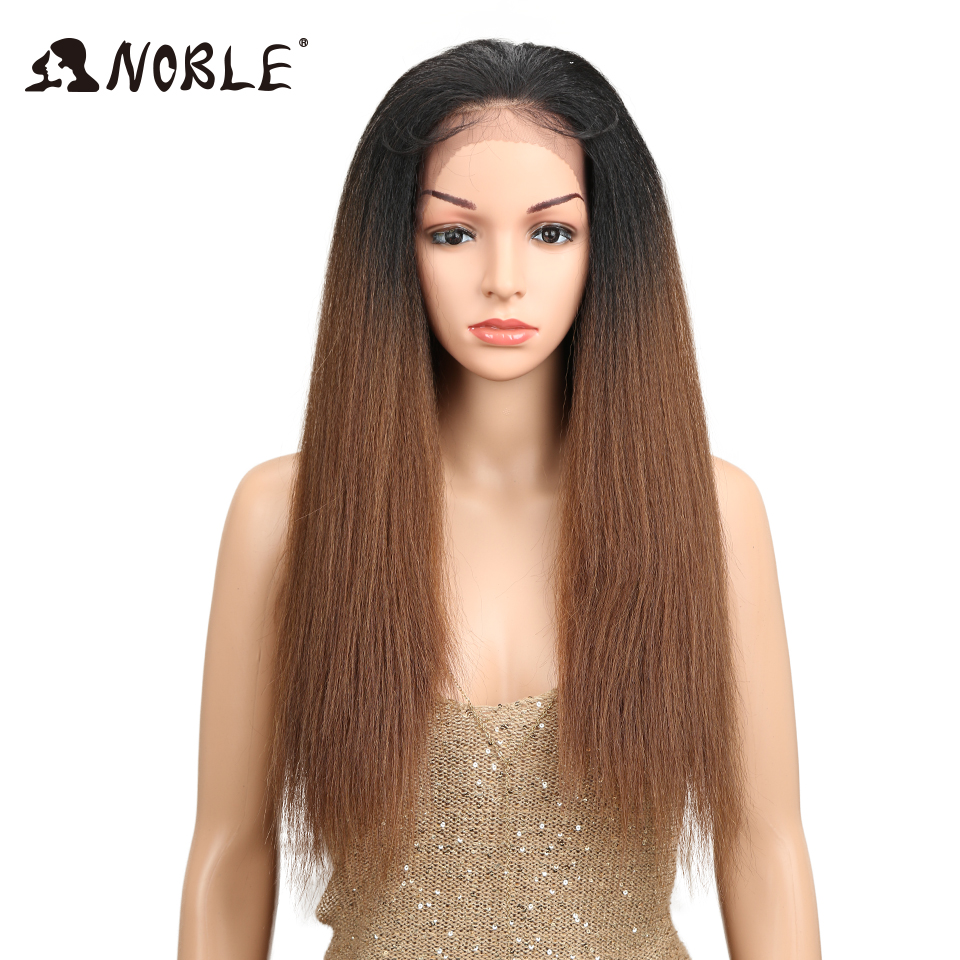 "Noble Hair Ombre 26""Inch Long Straight Synthetic Hair Lace Front Wigs For Black Women Yaki Lace Wigs With Baby Hair Free Parting(China)"