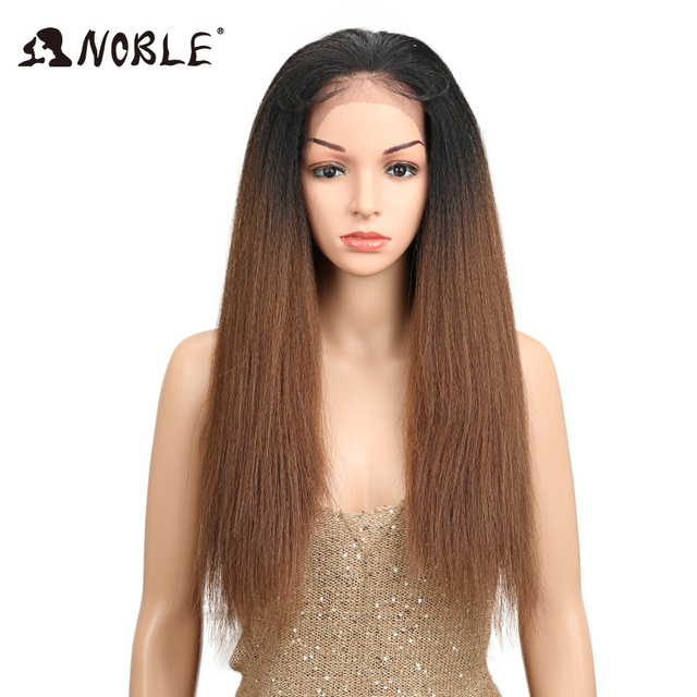 """Noble Hair Ombre 26""""Inch Long Straight Synthetic Hair Lace Front Wigs For Black Women Yaki Lace Wigs With Baby Hair Free Parting"""