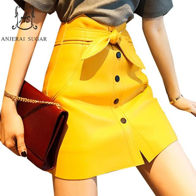 Genuine leather skirts womens yellow pink sexy High waist Bow Single breasted OL faldas mujer moda 2019 Spring Package hip skirt