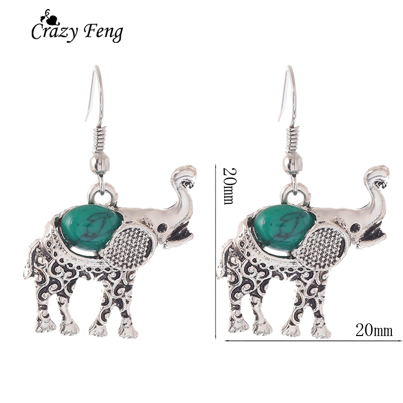 HTB1i8c6QpXXXXaVXpXXq6xXFXXXm - Fashion Green African Jewelry Sets for Women Vintage Silver Color Elephant Pendant Necklace Earrings Bracelets Jewellery Gift