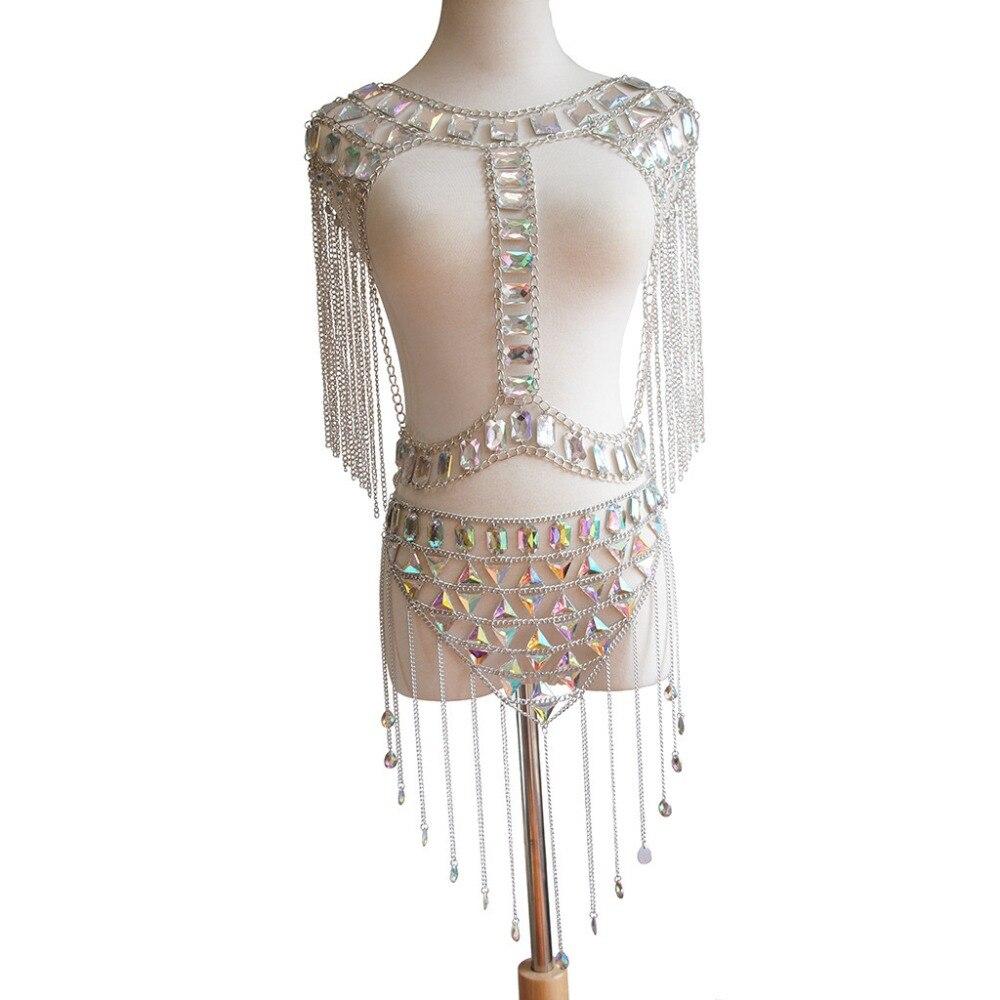 Lady Sexy corps cristal ensembles chaîne rétro ethnique gland chaîne femelle réservoir hauts strass parti Club pour les femmes bijoux de beauté