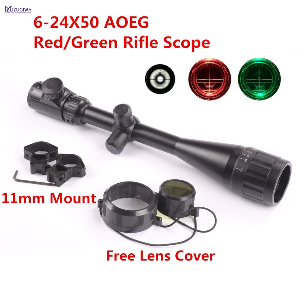 MIZUGIWA 6-24X50 AOEG Adjustable Hunting Green Red Mil-dot Illuminated Riflescope Reticle Optical Sight Scope Mount 11mm Rail 4x 30mm red green mil dot reticle rifle scope with gun mount black 3 x ag13 1 x cr2032
