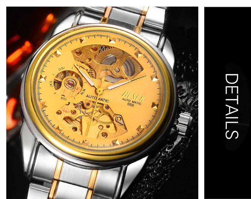 HTB1i8cVboCF3KVjSZJnq6znHFXaT Men's Watches Automatic Mechanical Gold Watch Male Skeleton Dial Waterproof Stainless Steel Band Bosck Sports Watches Self Wind