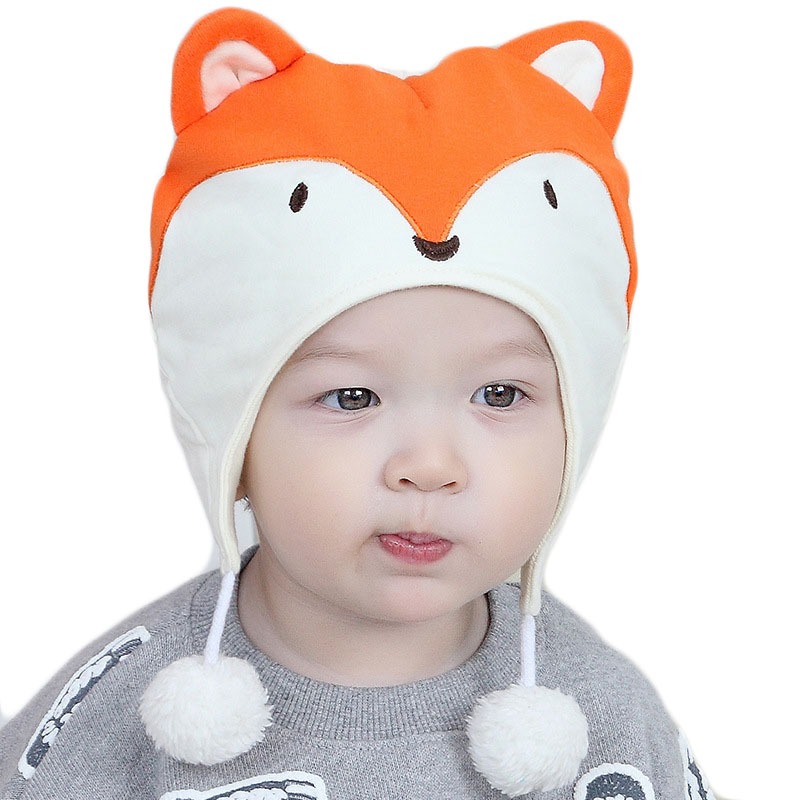 New Autumn Winter Baby Hats Kids Cute Small Fox Cartoon Cap Toddler Baby Warm Cotton Hat Fashion Outdoor Kids Girls Boys Cap soft sole baby first walker leather shoes infant toddler footwear anti slip cotton cute baby shoes girls winter warm 70a1048