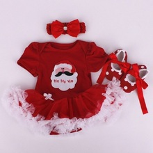 baby Girls Birthday Clothes Sets Girl Rompers Dress Infant 3pcs Newborn Cotton Jumpsuit  Christmas party Clothes